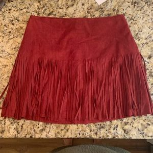 Dresses & Skirts - suede skirt with fringe